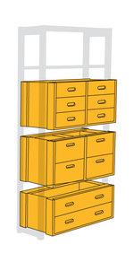 Lådfack två djupa, fyra grunda lådor 100x40x40 (ej med på bild)
